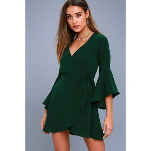 LULUS Size XS Forest Green Bell Sleeve Wrap Dress